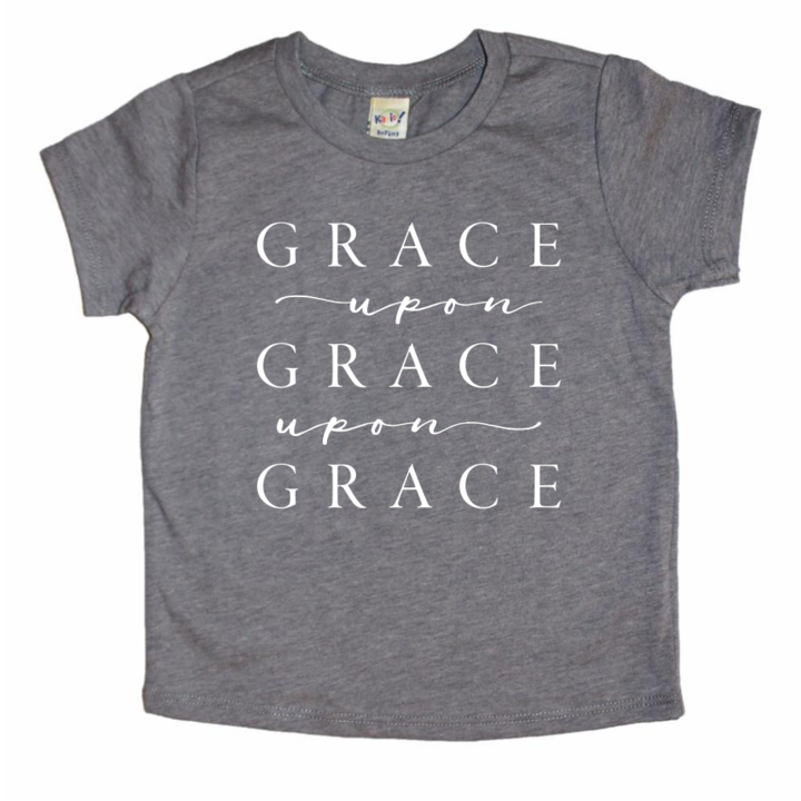 A Quiver Full - Grace Upon Grace Upon Grace Kids Tee - Grey
