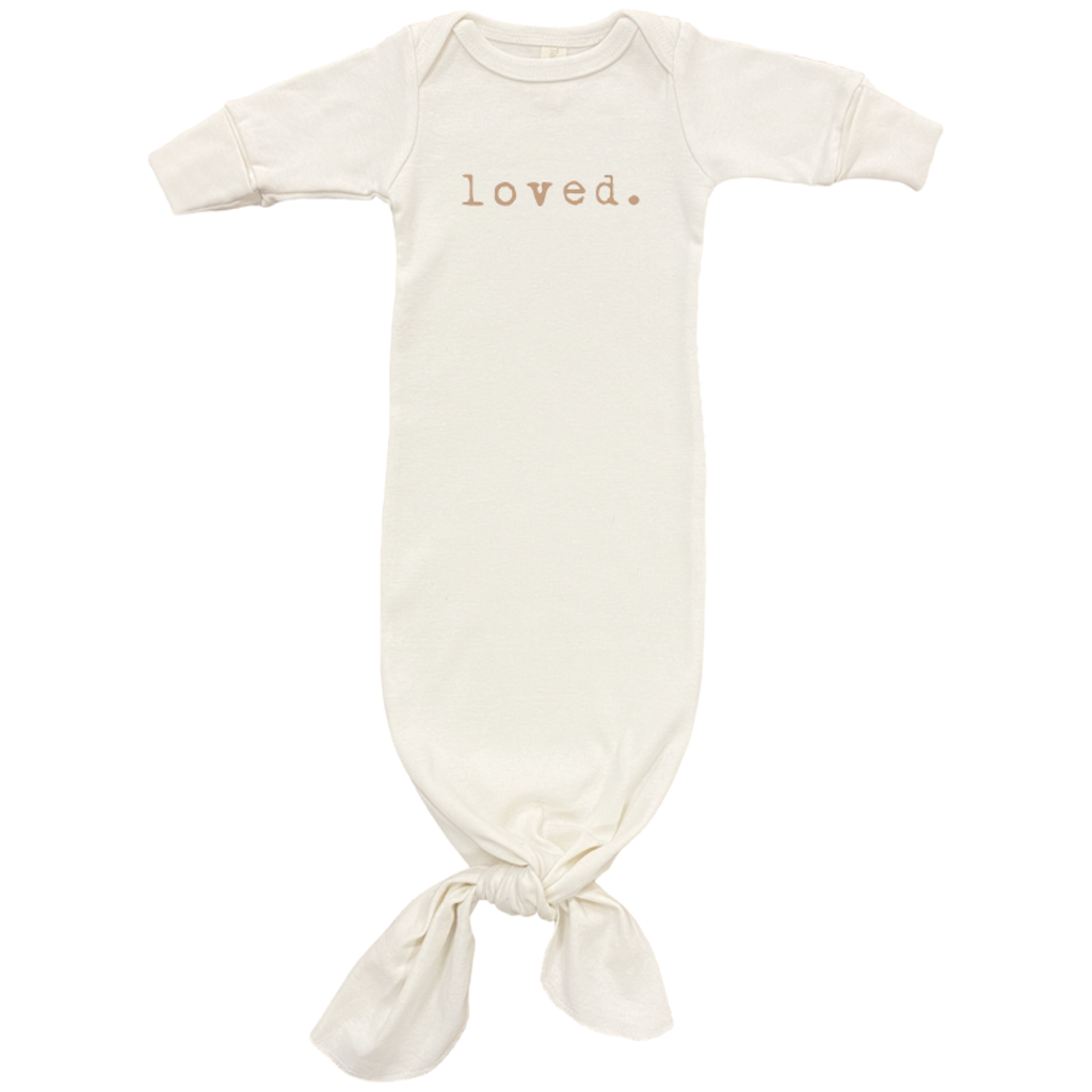 Tenth & Pine- Loved - Long Sleeve Infant Tie Gown Clay