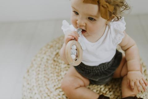 Chewable Charm - Dreamcatcher Silicone + Wood Teether - Moonstone