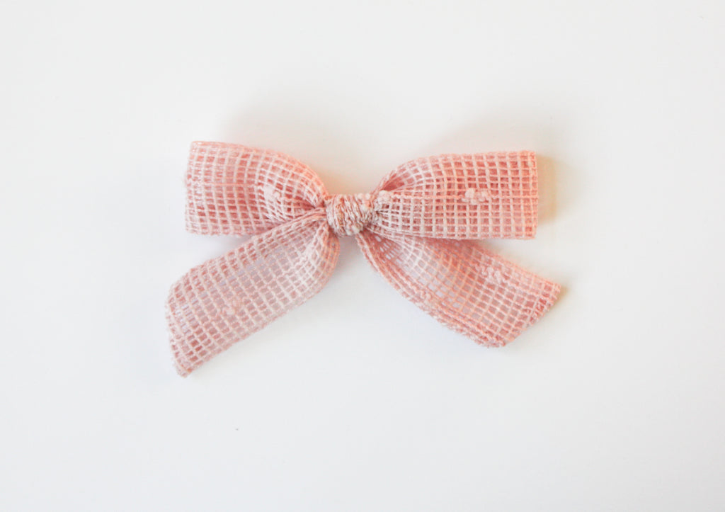 Camryn Girl Handmade - Swiss Dot Pink Medium Schoolgirl Bow