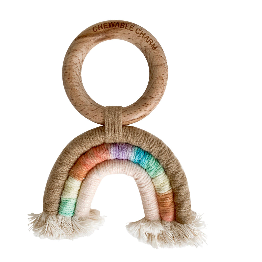 Chewable Charm - Rainbow Macrame Teether- Tan + Multi