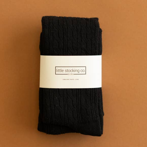 Little Stocking Co. - Black Cable Knit Tights