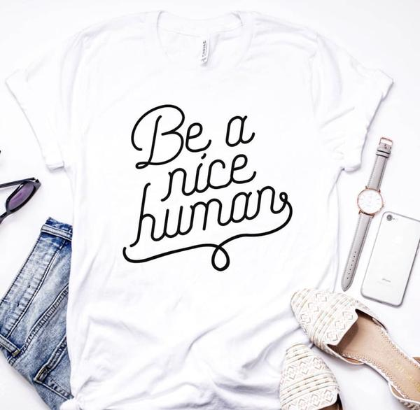 Charlotte and Ezra - Be a Nice Human - Gray V Neck