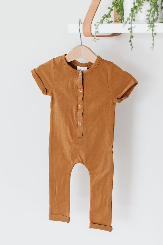 Orcas Lucille - Short Sleeve Henley Romper - Butterscotch