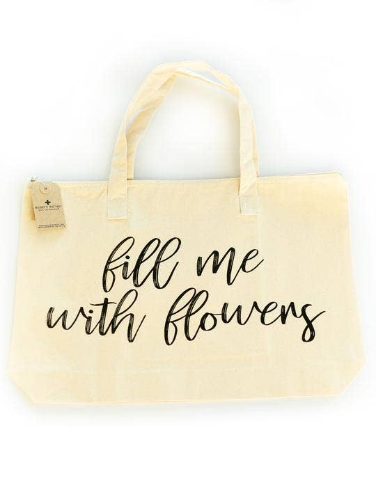 Modern Burlap - Large Zip Tote - Fill Me With Flowers