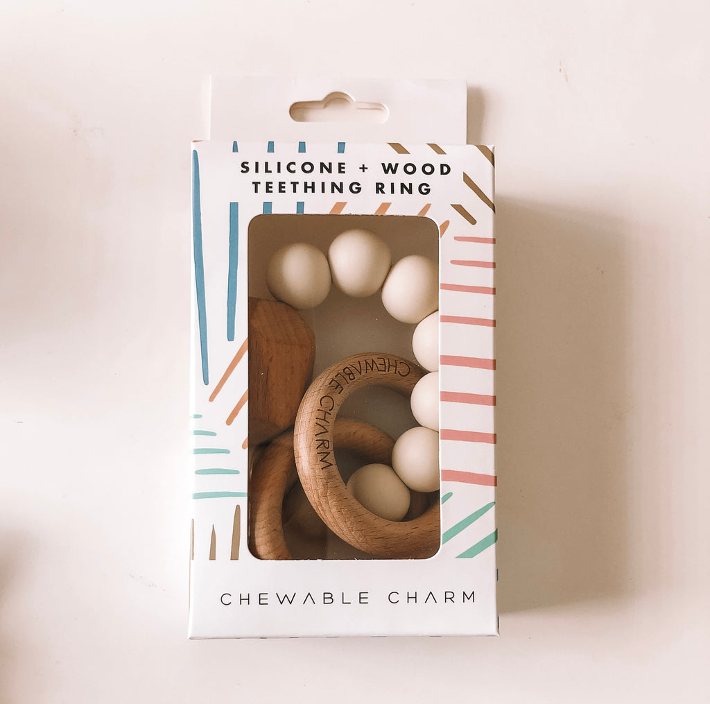 Chewable Charm - Hayes Silicone + Wood Teether Ring - Howlite