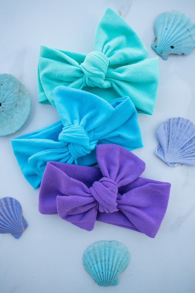 3 pack BOW knots- Teal, Blue, and Purple