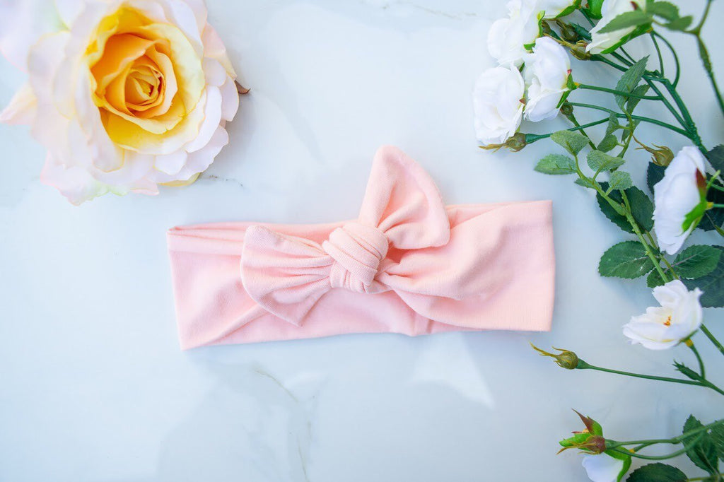 Baby Pink Bow Knot- baby headband-stretch wrap- bow