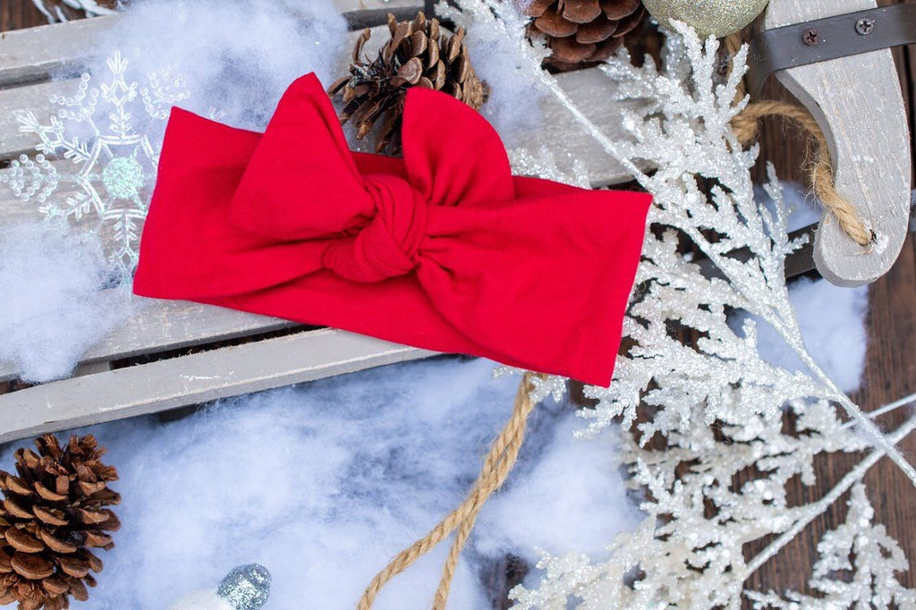 True Red Holiday Christmas Bow Knot- baby headband-stretch wrap- bow