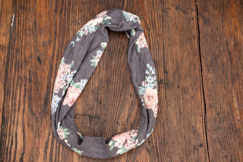 Grey Floral infinity scarf