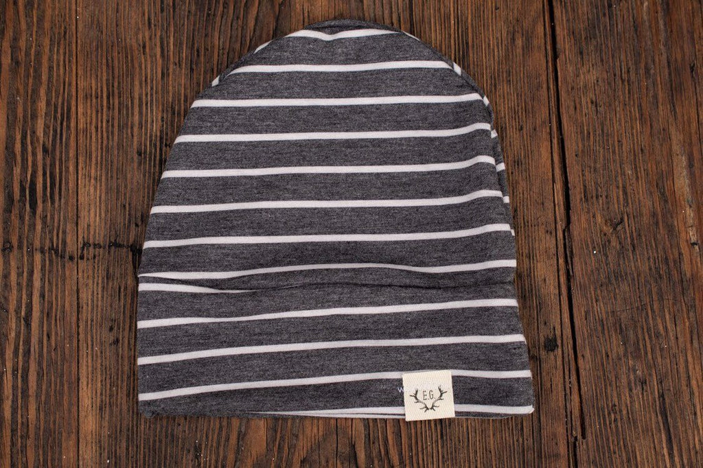 Charcoal grey with white stripes slouchy beanie