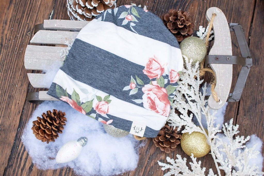 Gray and White Striped Floral Slouchy Beanie