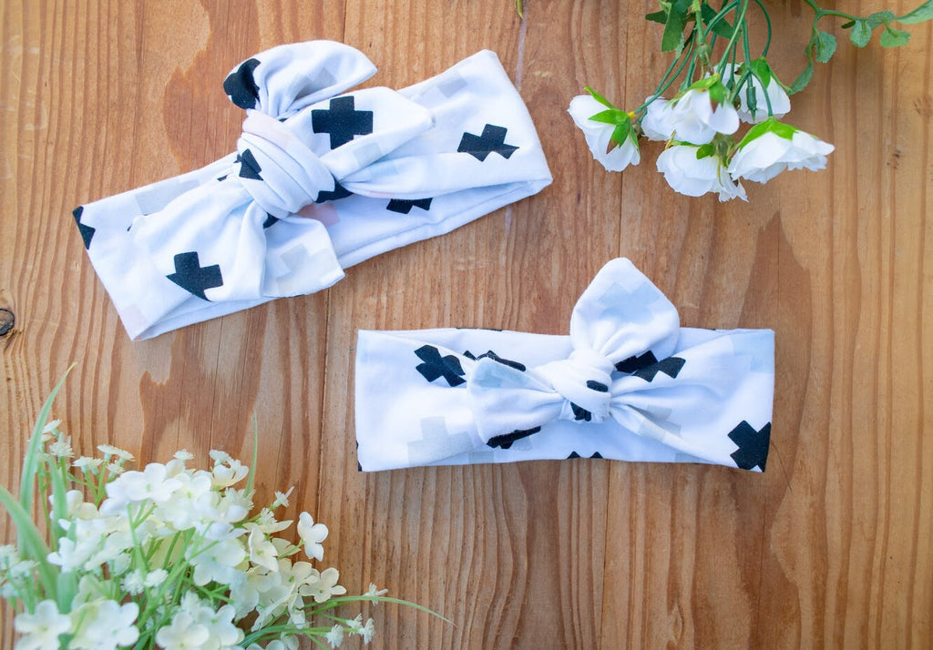 Emma Grace Shoppe- Handmade Head Wrap Bow or Bow Knot-Tic Tac Toe Bow or Bow Knot