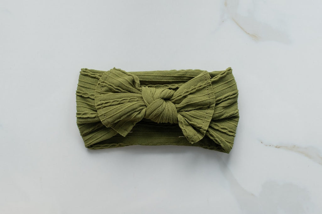 Bow knot- Cable Knit- Olive