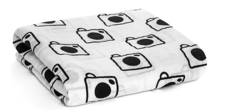 Organic Cotton Muslin Swaddle Blanket- Camera