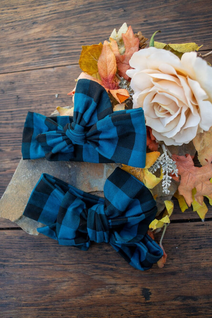 Emma Grace Shoppe- Handmade Head Wrap Bow or Bow Knot- Blue and Black Buffalo Plaid Bow or Bow Knot