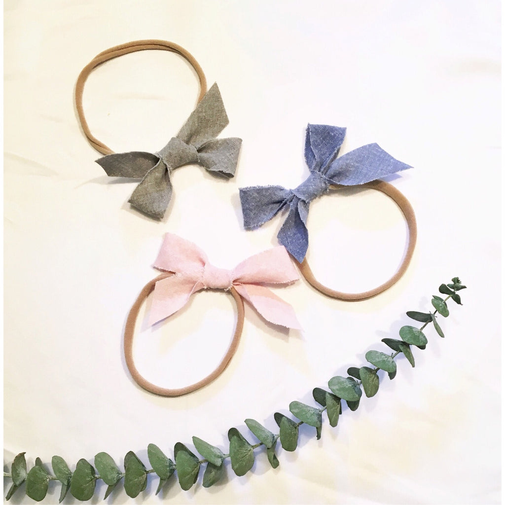 3 Pack-Messy Linen Bows-Ballet Pink, Sterling Grey, Denim Blue