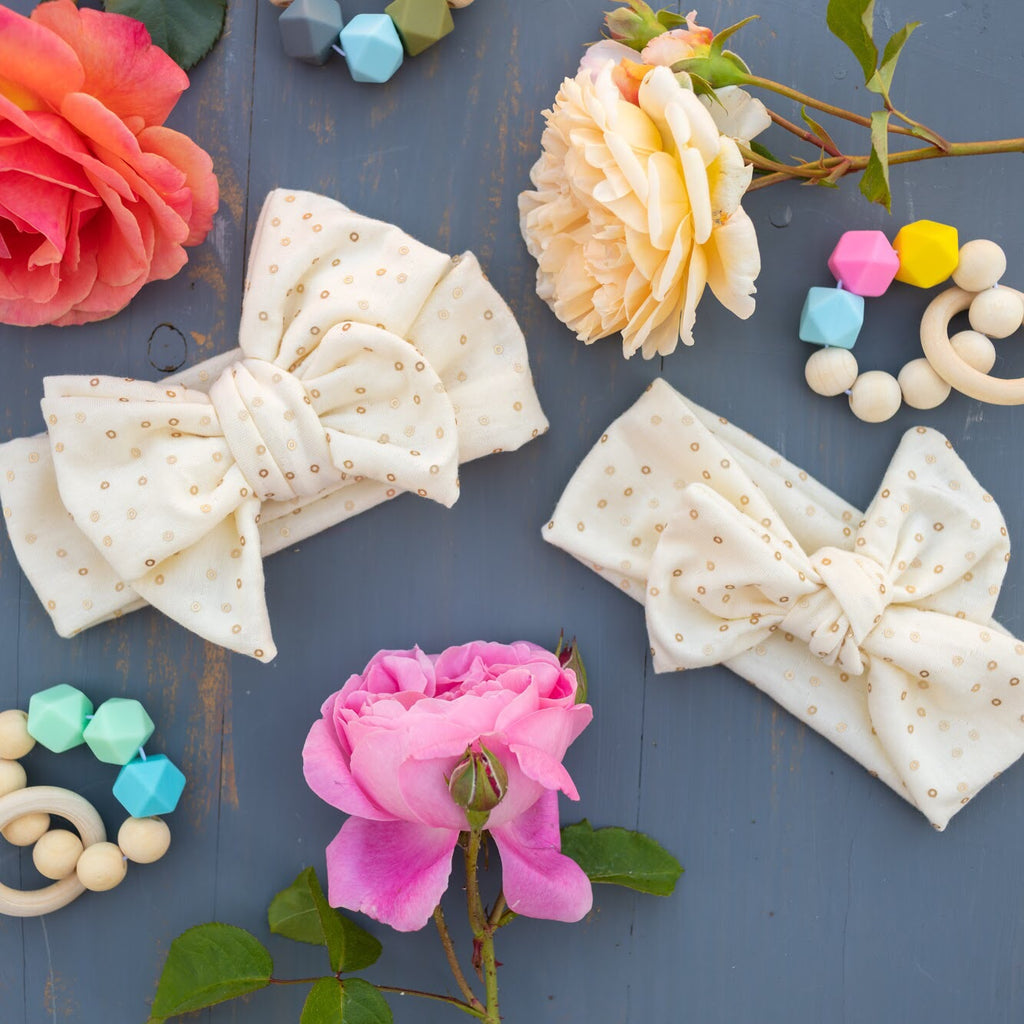 Emma Grace Shoppe- Handmade Head Wrap Bow or Bow Knot- The Delilah Cream Sparkle Bow or Bow Knot