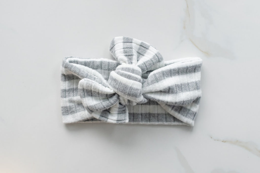 Emma Grace Shoppe- Handmade Bow knot-Grey Striped Sweater