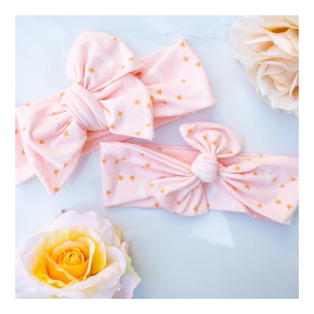 Emma Grace Shoppe- Handmade Head Wrap Bow or Bow Knot- Pink Starry Night Bow or Bow Knot