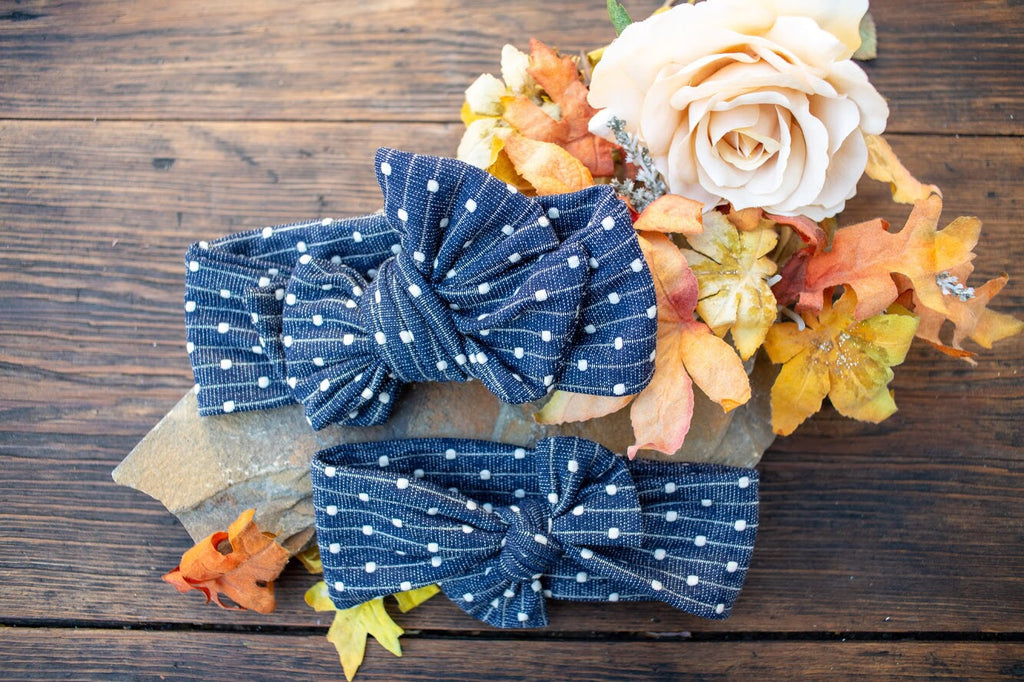Denim and White Embossed Dot Bow or Bow Knot