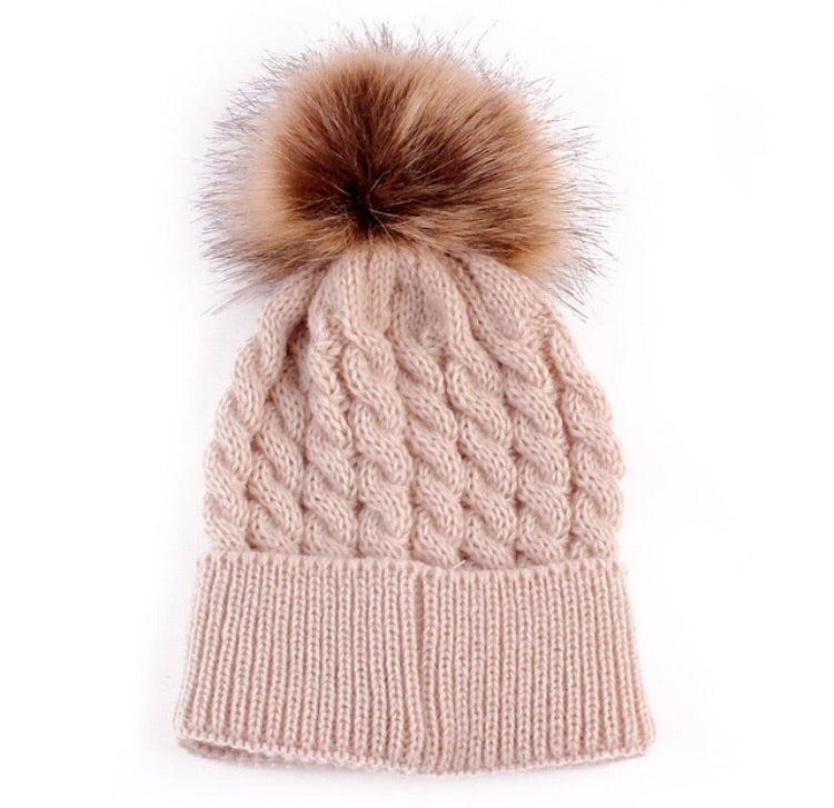 Knitted Wool & Faux Fur Pom Beanie