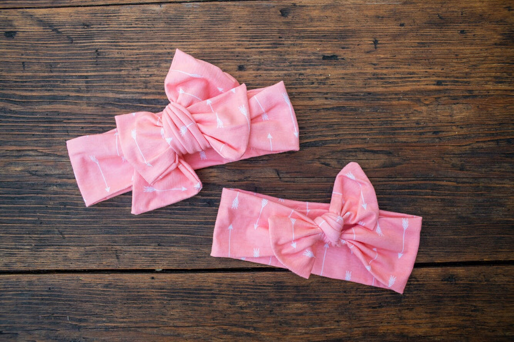 Emma Grace Shoppe- Handmade Head Wrap Bow or Bow Knot- Pink Tiny Arrow Bow or Bow Knot