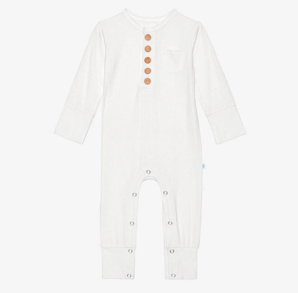 Posh Peanut- Off White Ribbed Ruffled Henley Romper With Pocket