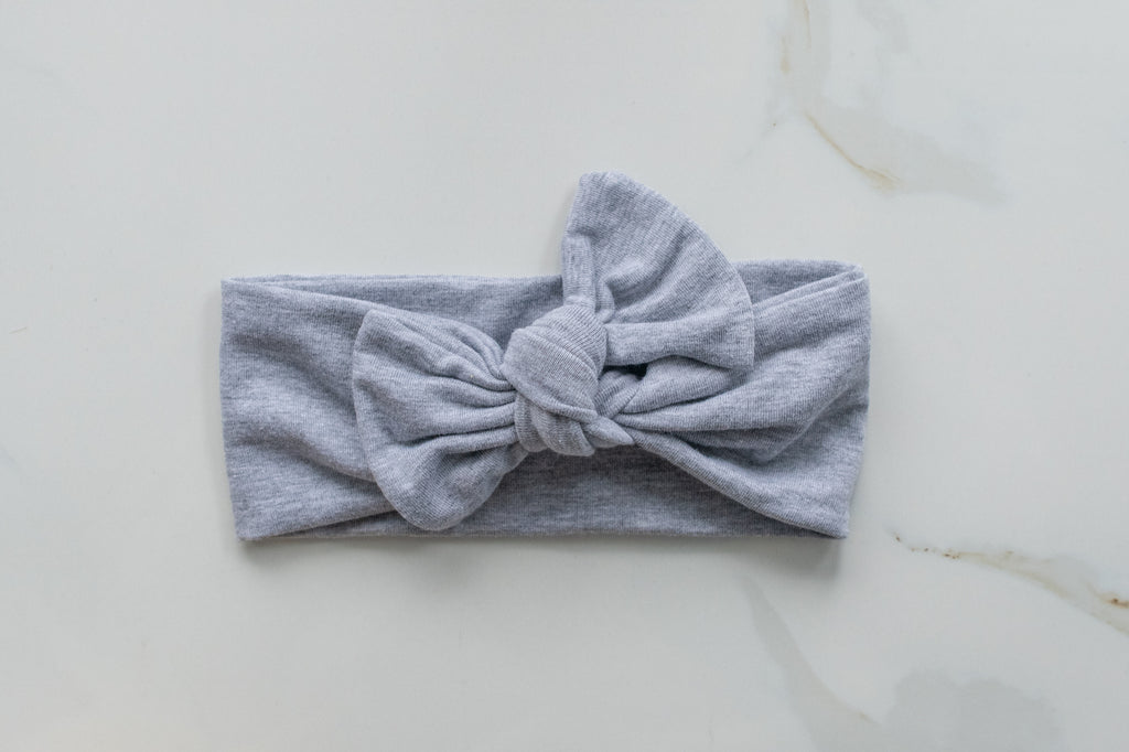 Emma Grace Shoppe- Handmade Bow knot-Heathered Grey