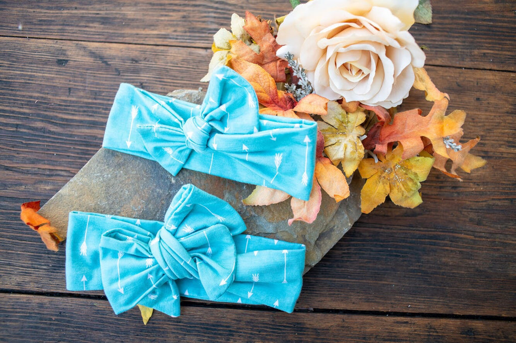 Emma Grace Shoppe- Handmade Head Wrap Bow or Bow Knot- Teal Tiny Arrow Bow or Bow Knot