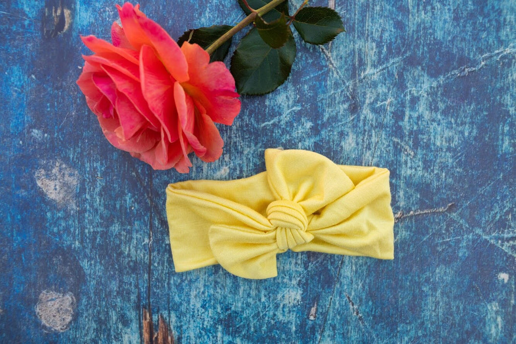 Emma Grace Shoppe- Handmade Head Wrap Bow or Bow Knot- Sunshine Yellow Bow or Bow Knot