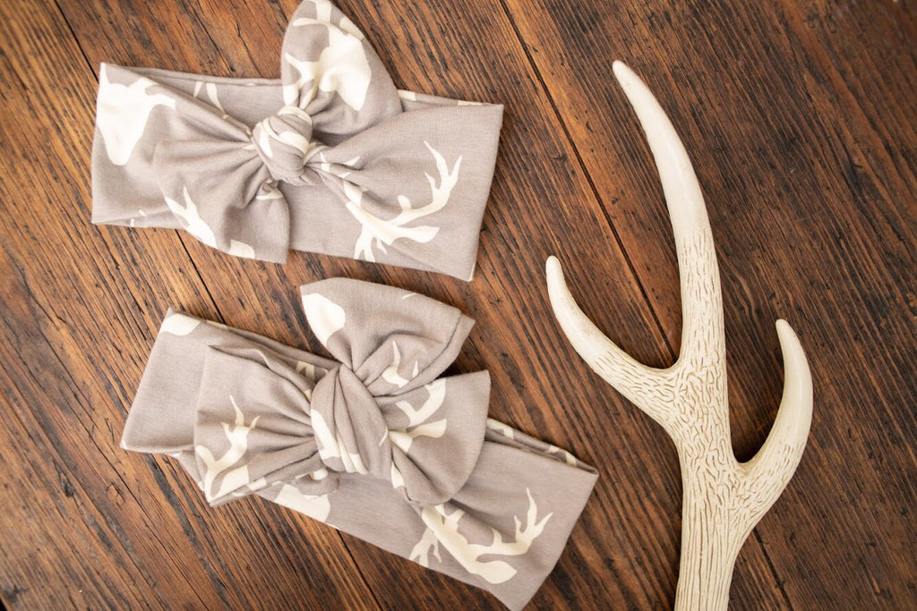 Emma Grace Shoppe- Handmade Head Wrap Bow or Bow Knot- Oh Deer Bow or Bow Knot