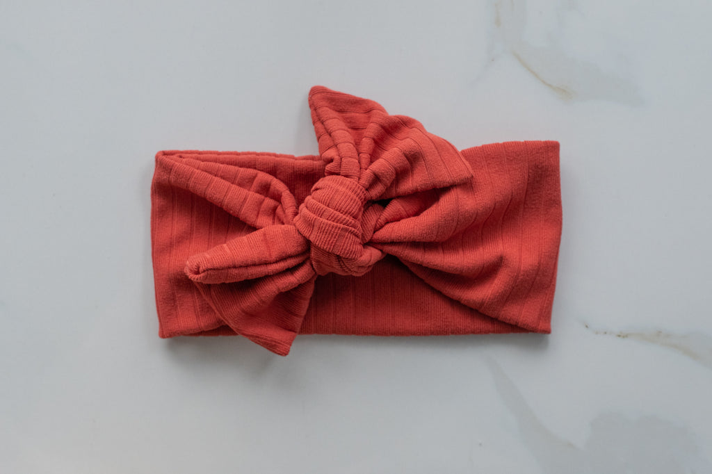 Emma Grace Shoppe- Handmade Bow knot-Ribbed Rust