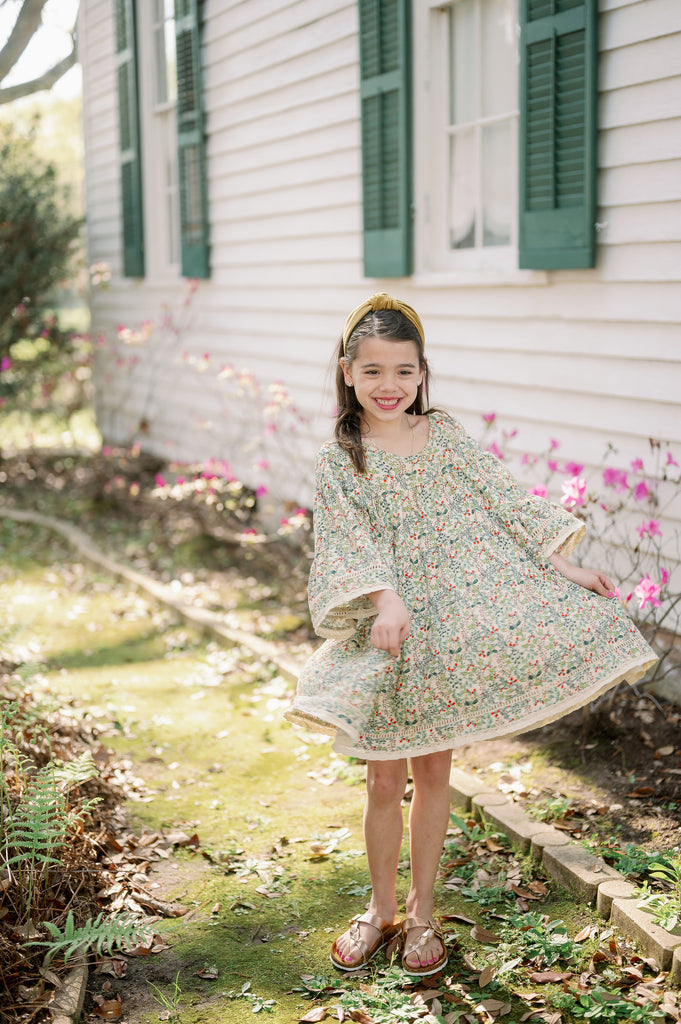 Emma Grace Shoppe: Organic Cotton Multi-Tiered Boho Dress- Spring Floral
