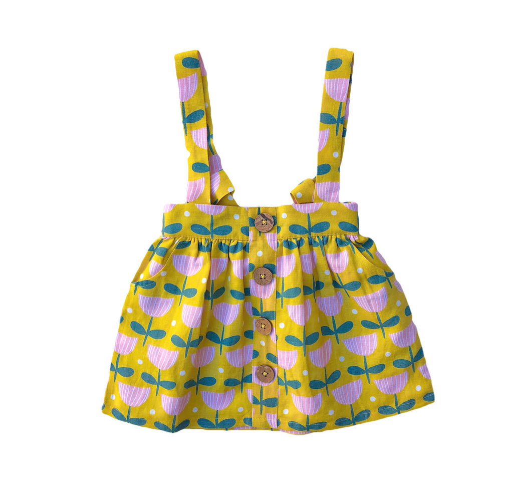 Lemon + Lucy- Linen Pinafore - Dancing Tulips Print