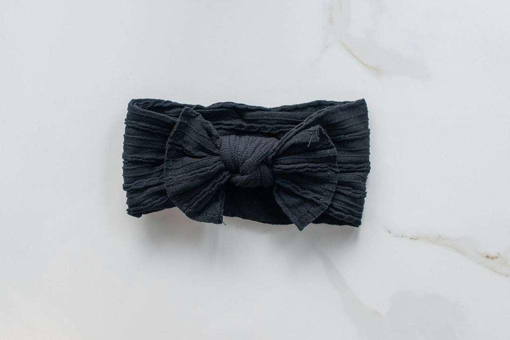 Bow knot- Cable Knit- Jet Black
