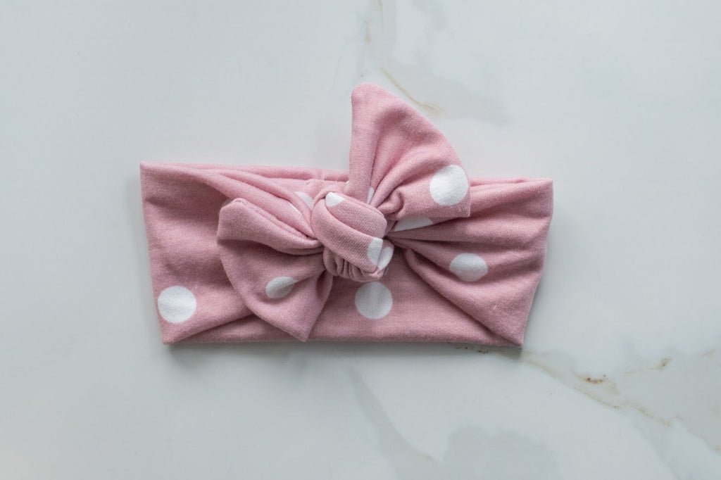 Emma Grace Shoppe- Handmade Bow knot-Rose Polka Dot
