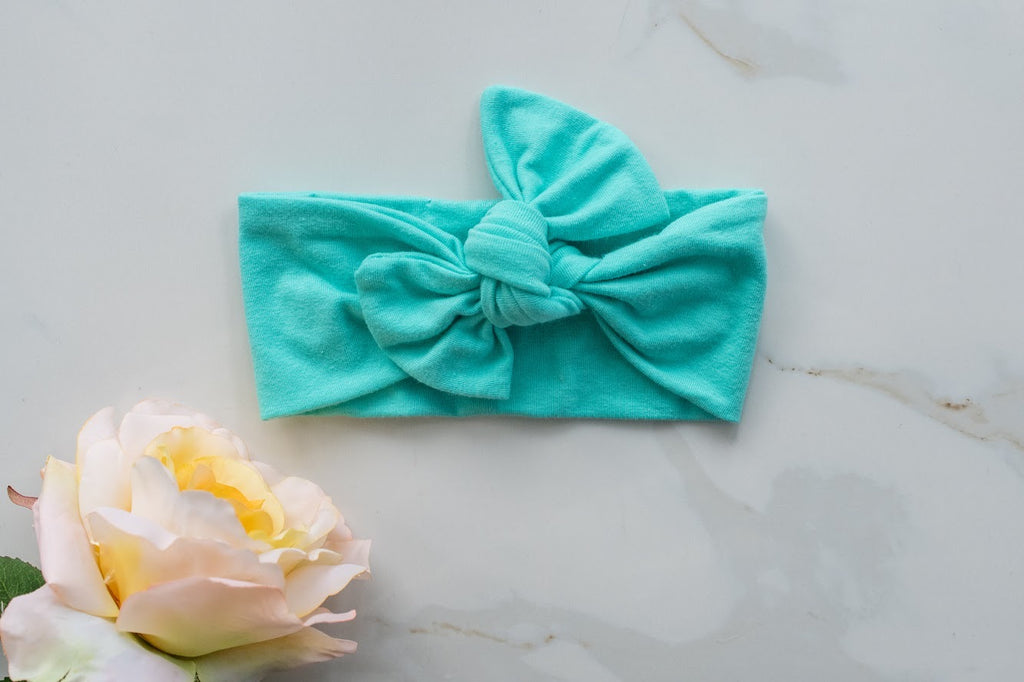 Emma Grace Shoppe- Handmade Bow knot-Seabreeze Blue