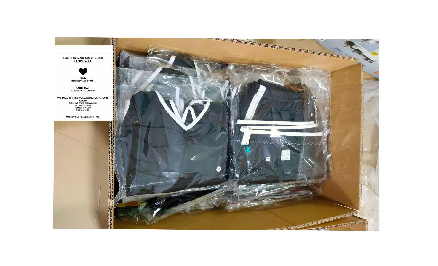 shorts folded in boxes ready for shipment