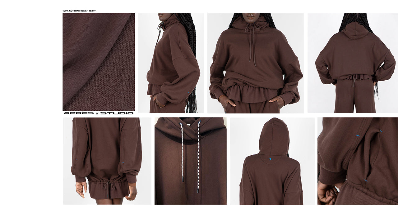 Some close up detail photos of our chocolate cotton hoodie.