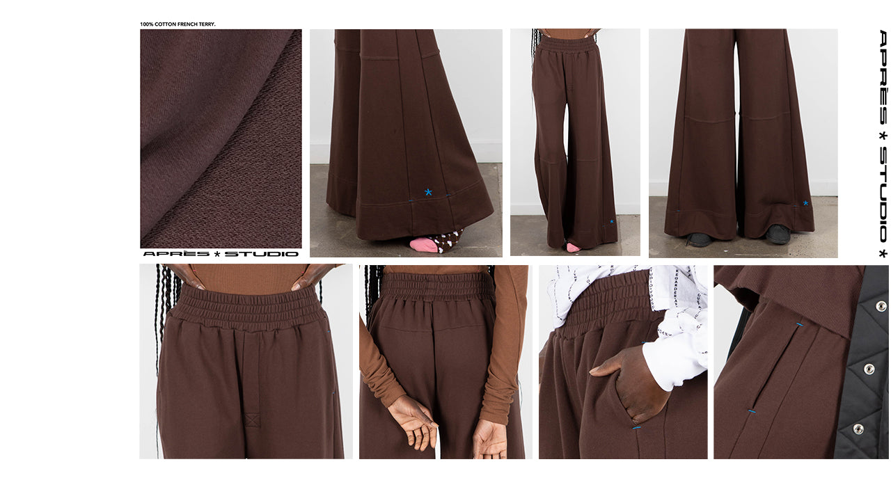 Some detailed photographs of the chocolate pants.