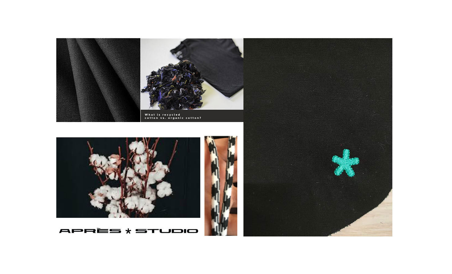 fabric pieces and swatches with cotton flowers