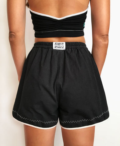 BLACK RECYCLED COTTON SHORTS