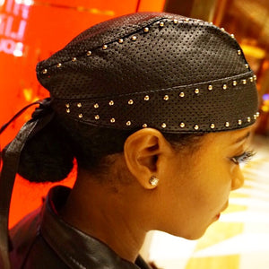 Studded Perforated Lambskin Leather Biker Cap