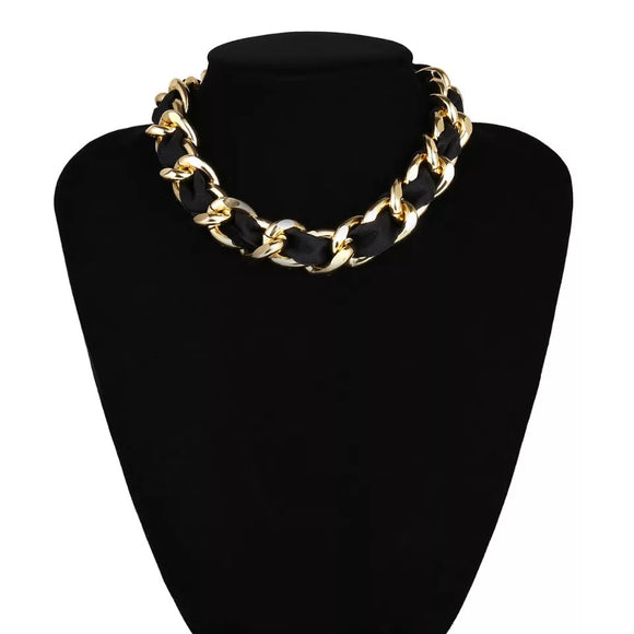 Gold Velvet Ribbon Choker