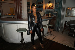 Black Lambskin Leather Biker Jacket w/ Gold Hardware