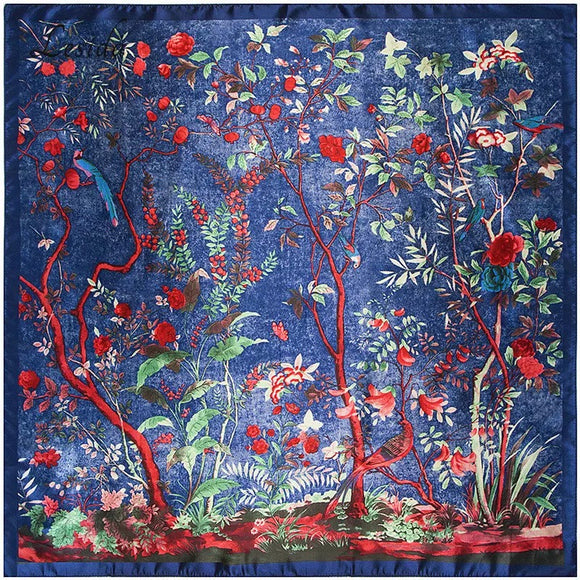 Pure Silk Scarf (Enchanted Forest Blue)