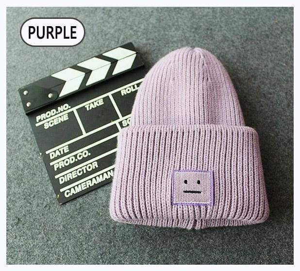 Acne Ribbed Beanie Hat | Purple - Streetgarm