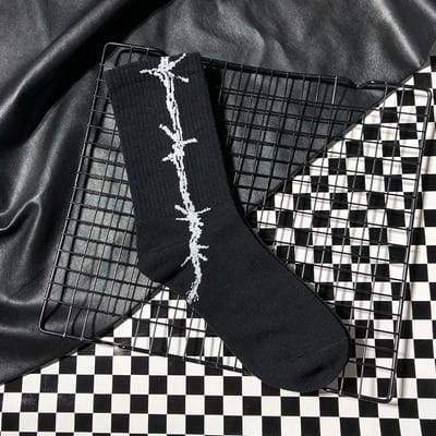 Barbed Wire Socks | Black 1 - Streetgarm