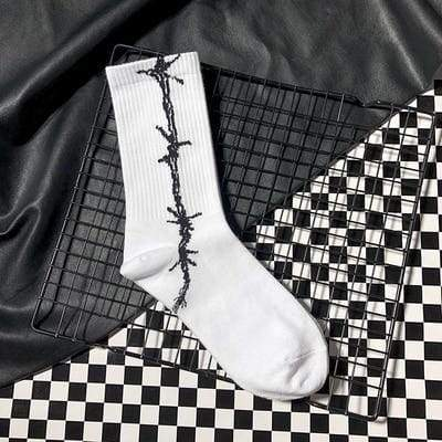 Barbed Wire Socks | White 2 - Streetgarm